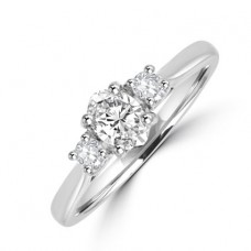Platinum 3-stone Oval & Brilliant cut Diamond Engagement Ring