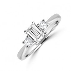 Platinum Three-stone Emerald & Brilliant Diamond Ring