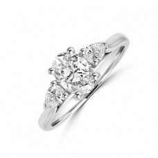 Platinum Three-stone Oval & Pear Diamond Ring