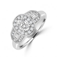 Platinum Three-stone Oval & Baguette Diamond Halo Ring