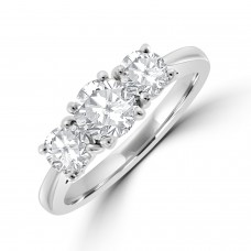 Platinum Three-stone FVS2 Diamond Ring
