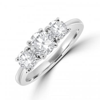 Platinum Three-stone FVS2 Diamond Ring