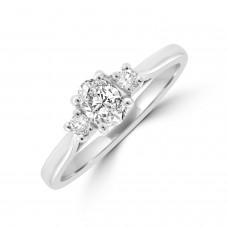 Platinum Three-stone DSi1 Oval & Briliant Diamond Ring