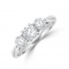 Platinum Three-stone 4x3 clawed Diamond Ring