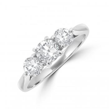 Platinum Three-stone 4x3 clawed Diamond Ring