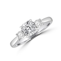 Platinum Three-stone ESi1 Cushion Diamond Ring