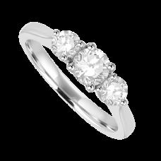 Platinum Three-stone Diamond 4x3 clawed Ring