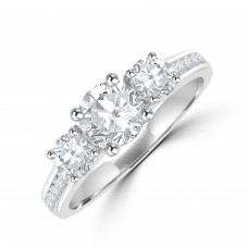 Platinum Three-stone FSi2 Diamond Ring