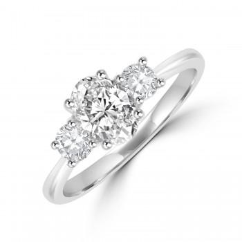 Platinum 3-stone Oval & Brilliant GVS2 Diamond Ring