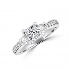 Platinum FVS1 Cushion Diamond Three-stone Ring