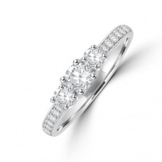 Platinum Three-stone Diamond Ring with Grain set shoulders