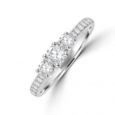 Platinum Three-stone Diamond Ring with Grain set shoulders