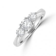 Platinum Three-stone Diamond 4x3 Claw Diamond Ring