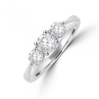 Platinum Three-stone Diamond 4x3 Claw Diamond Ring