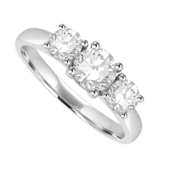 Platinum Three-stone .78ct Diamond Ring
