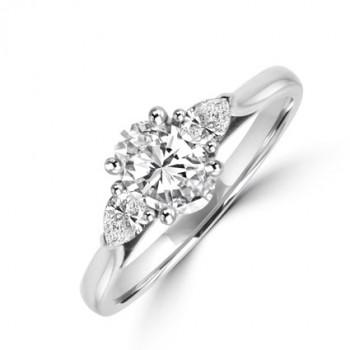 Platinum 3-stone Oval & Pear Diamond Ring