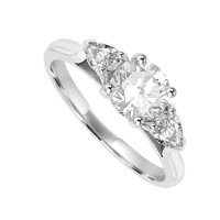 Platinum Three-stone Brilliant & Pear Diamond Ring