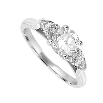 Platinum Three-stone Brilliant & Pear Diamond Ring
