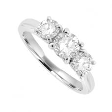 Platinum Three-stone Diamond 4-claw Ring
