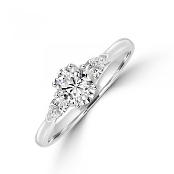 Platinum Oval DSI1 Diamond & Pear cut Diamond Ring