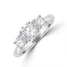 Platinum Three-stone DSi1 Diamond Ring