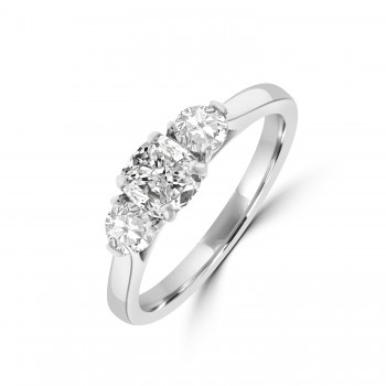 Platinum DSi2 Cushion & Brilliant Three-stone Diamond Ring