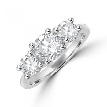 Platinum Three-stone 1.76ct ESi1 Diamond Ring