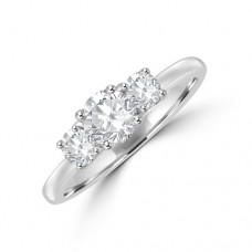 Platinum Three-stone .86ct ESi2 Diamond Ring