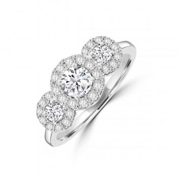 Platinum Triple Cluster .96ct Diamond Ring
