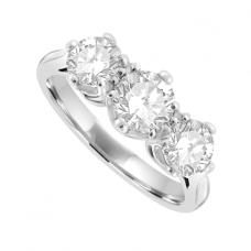 Platinum Three-stone 1.00ct Diamond Traditional Ring