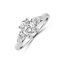 Platinum Three-stone Oval FSi2 Diamond & Pear cut Ring