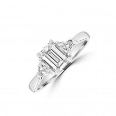 Platinum DSi1 Emerald cut & Trillion Three-stone Ring