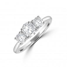 Platinum Three-stone ESi1 Diamond Ring
