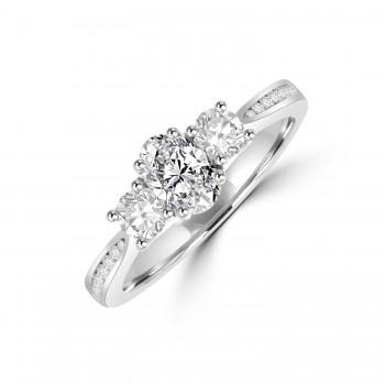 Platinum Three-stone DSi1 Oval & Brilliant Diamond Ring