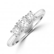 Platinum Three-stone DSi2 Diamond Ring