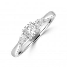 Platinum Three-stone Brilliant & Pear DSi2 Diamond Ring