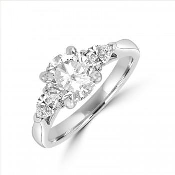 Platinum Three-stone Round & Pear Di1 Diamond Ring