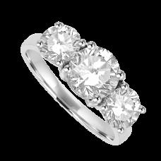 Platinum Three-stone DSi2 Diamond 2.01ct Ring
