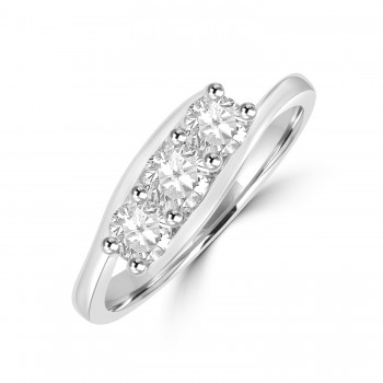 Platinum Three-stone .70ct Diamond Twist Ring