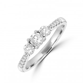 Platinum Three-stone .60ct Diamond Ring