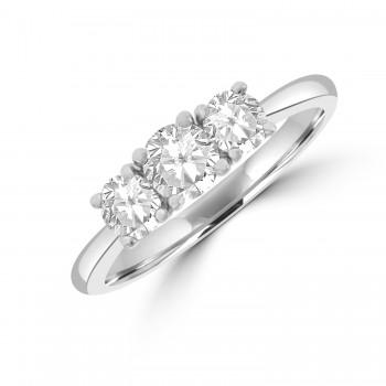 Platinum Three-stone FSi2 Diamond Ring