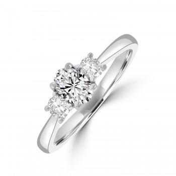 Platinum Three-stone Oval & Brilliant ESi2 Diamond Ring
