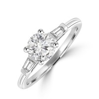 Platinum Solitaire ESi1 Diamond ring with Baguette shoulders