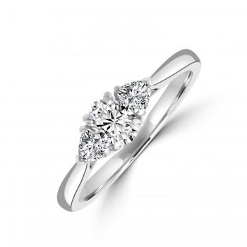 Platinum Three-stone Oval and Trillion DSi1 Diamond Ring