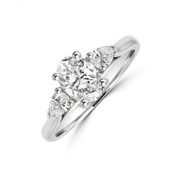 Platinum Three-stone Oval DSI1 & Pear Diamond Ring