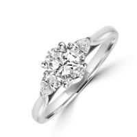 Platinum Three-stone Oval EVS2 and Pear Diamond Ring