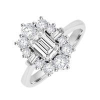 Platinum 13-stone Emerald cut Diamond Cluster Engagement Ring