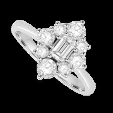 Platinum 9-stone Diamond Emerald cut Cluster Ring