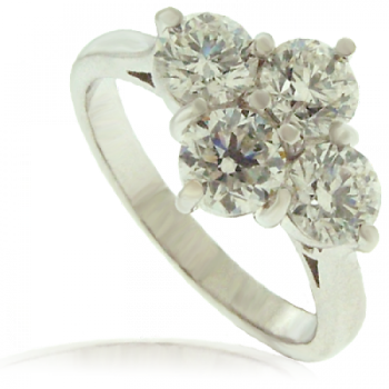 Platinum 4-stone 2x2 Diamond Cluster Ring