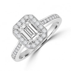 Platinum Solitaire Emerald cut Diamond Halo Ring
